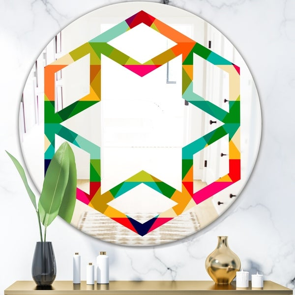 Designart 'Diamond Retro IX' Modern Round or Oval Wall Mirror - Hexagon Star - Multi