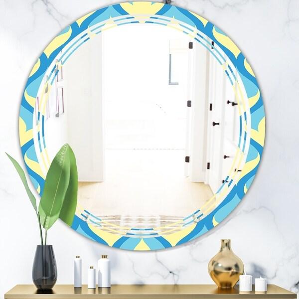 Designart 'Retro Pattern Abstract Design IX' Modern Round or Oval Wall Mirror - Triple C