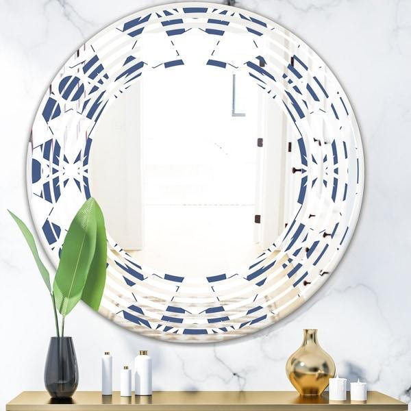 Designart 'Abstract Retro Geometrical Design I' Modern Round or Oval Wall Mirror - Wave