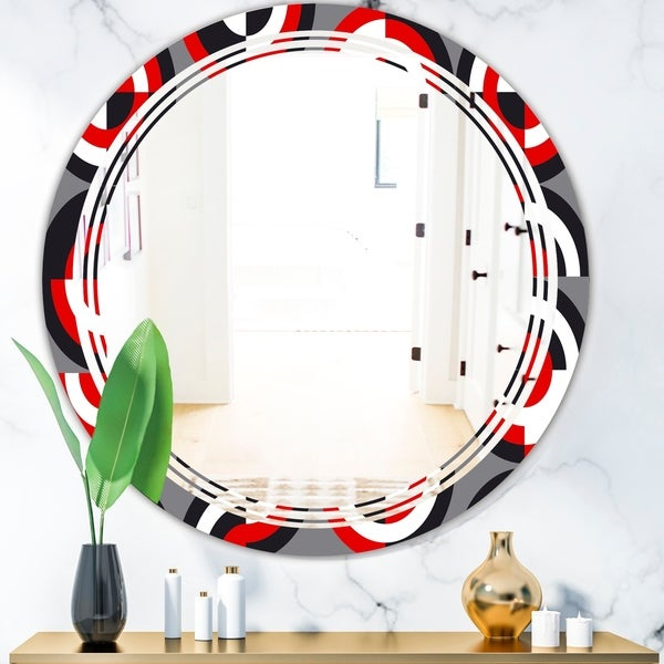 Designart 'Retro Circular Pattern Geometrical' Modern Round or Oval Wall Mirror - Triple C