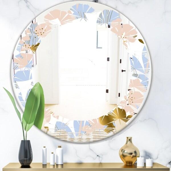Designart 'Golden Foliage XV' Modern Round or Oval Wall Mirror - Leaves