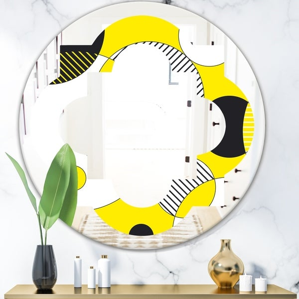 Designart 'Circular Abstract Retro Geometric I' Modern Round or Oval Wall Mirror - Quatrefoil