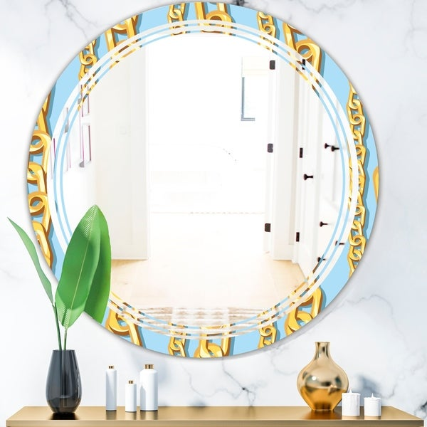 Designart 'Gold Chain Pattern' Modern Round or Oval Wall Mirror - Triple C