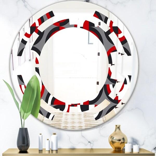 Designart 'Retro Circular Pattern Geometrical' Modern Round or Oval Wall Mirror - Space