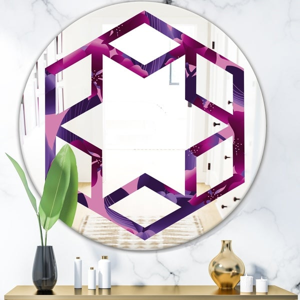 Designart 'Orchid blossom colorful pattern' Modern Round or Oval Wall Mirror - Hexagon Star