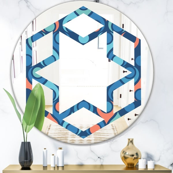 Designart 'Retro Abstract Drops X' Modern Round or Oval Wall Mirror - Hexagon Star