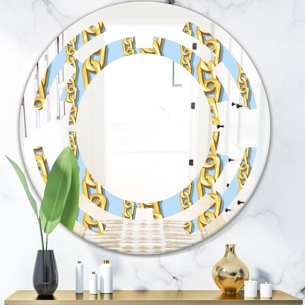 Designart 'Gold Chain Pattern' Modern Round or Oval Wall Mirror - Space