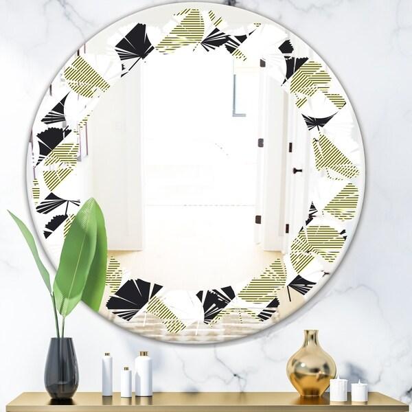 Designart 'Circular Abstract Retro Geometric II' Modern Round or Oval Wall Mirror - Leaves