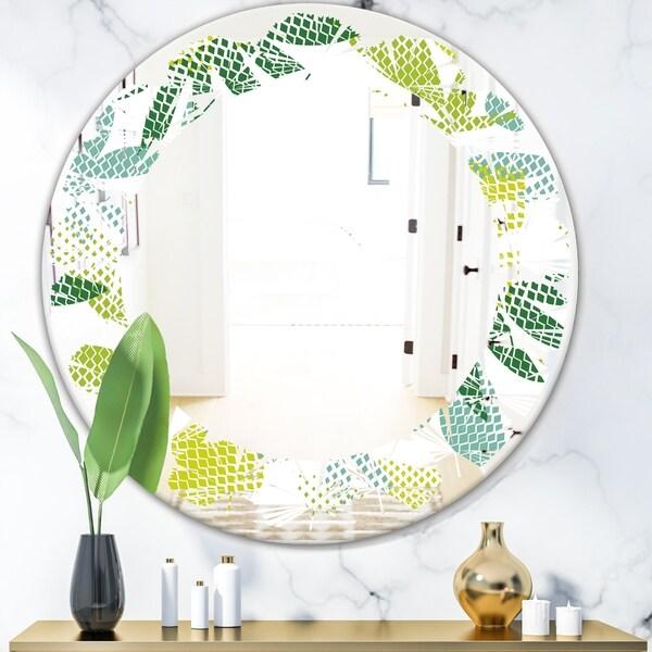 Designart 'Tropical Botanicals III' Modern Round or Oval Wall Mirror - Leaves