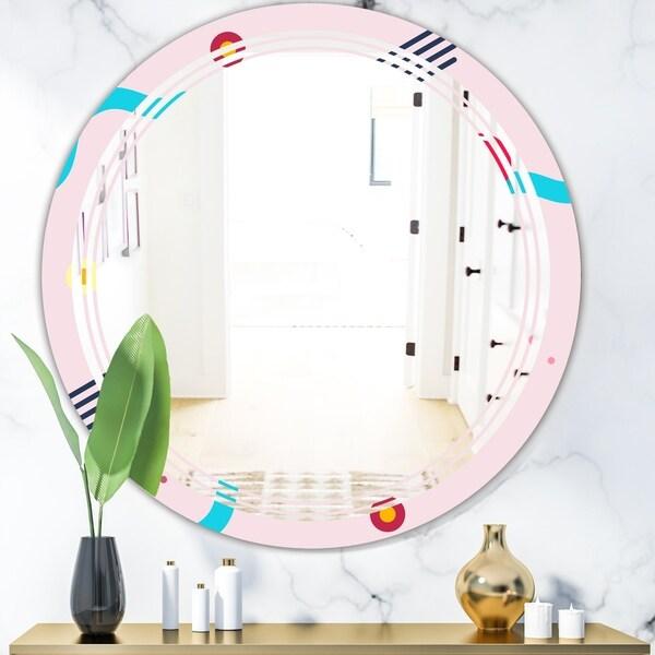Designart 'Retro Geometrical Abstract Pattern III' Modern Round or Oval Wall Mirror - Triple C