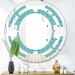 Designart 'Retro Abstract Pattern Design III' Modern Round or Oval Wall Mirror - Space