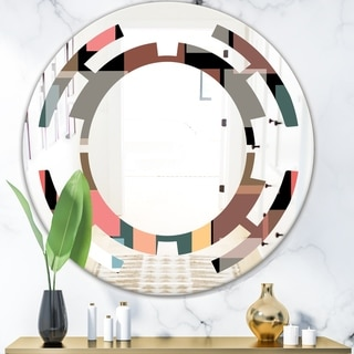 Designart 'Retro Square Design II' Modern Round or Oval Wall Mirror - Space