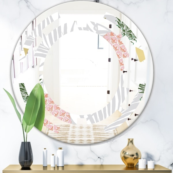 Designart 'Pineappple On Tropical Leaves' Modern Round or Oval Wall Mirror - Space