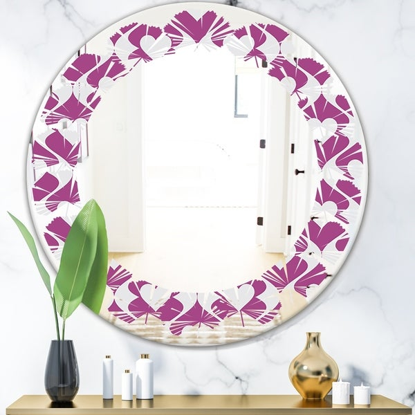 Designart 'Retro Pattern Abstract Design VIII' Modern Round or Oval Wall Mirror - Leaves