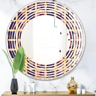 Design Artdesignart Retro Grid In Orange Modern Round Or Oval Wall Mirror Wave Round 39 4 In Wide X 39 4 In High Dailymail
