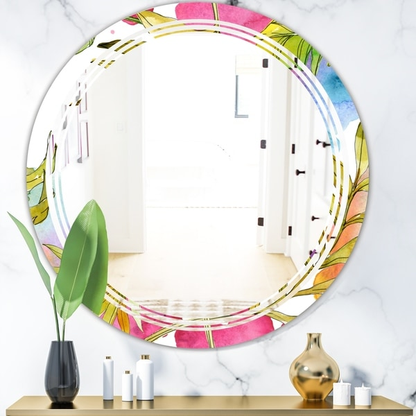 Designart 'Tropical Foliage IV' Cottage Round or Oval Wall Mirror - Triple C - Multi
