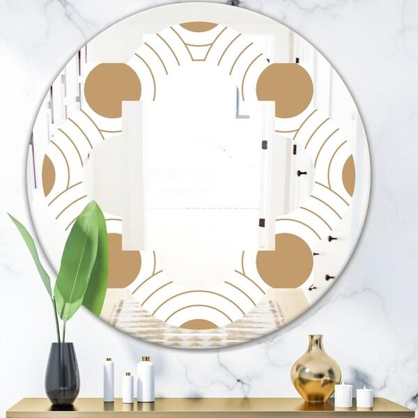 Designart 'Circular Retro Design' Modern Round or Oval Wall Mirror - Quatrefoil