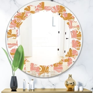 Designart 'Pink Retro Abstract Design' Modern Round or Oval Wall Mirror - Leaves