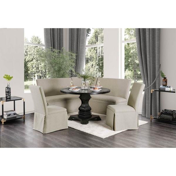 Furniture of America Menta Farmhouse Black 6-Piece Dining Table Set with Bench