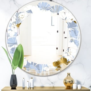 Designart 'Orchid blossom color pattern' Modern Round or Oval Wall Mirror - Leaves