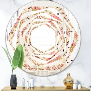 Designart 'Oriental Floral Paisley' Modern Round or Oval Wall Mirror - Whirl