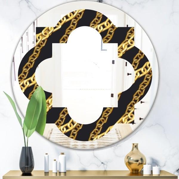 Designart 'Golden ZigZag Chain' Modern Round or Oval Wall Mirror - Quatrefoil