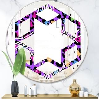 Designart 'Leopard Fur Safari VIII' Modern Round or Oval Wall Mirror - Hexagon Star