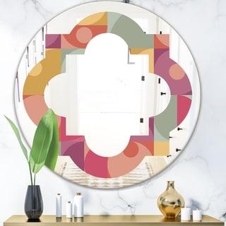 Designart 'Geometric Retro Minimal I' Modern Round or Oval Wall Mirror - Quatrefoil