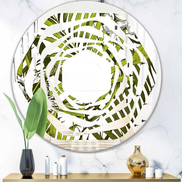 Designart 'Tropical Palm Leaves I' Modern Round or Oval Wall Mirror - Whirl