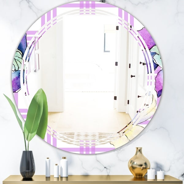 Designart 'Floral Botanical Retro VII' Modern Round or Oval Wall Mirror - Triple C