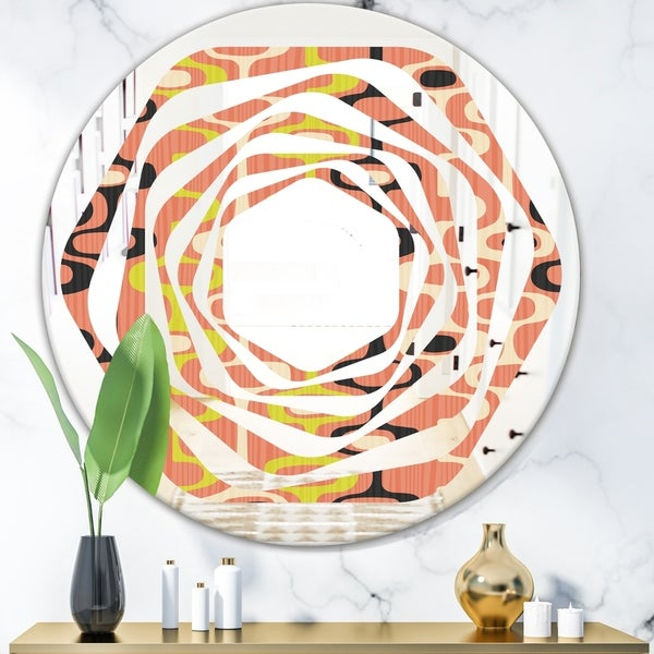Designart 'Retro Abstract Design XIII' Modern Round or Oval Wall Mirror - Whirl