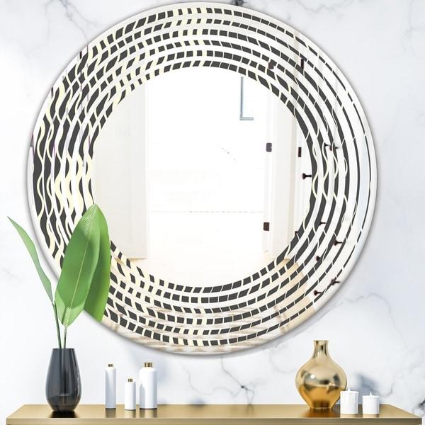 Designart 'Retro Geometrical Abstract Minimal Pattern V' Modern Round or Oval Wall Mirror - Wave