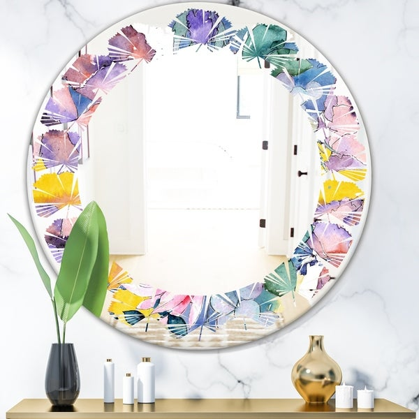 Designart 'Retro Floral Botanical V' Cottage Round or Oval Wall Mirror - Leaves - Multi