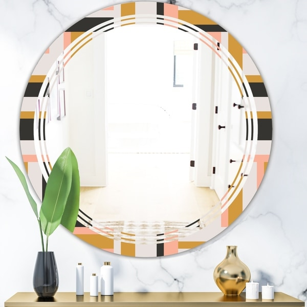 Designart 'Abstract Retro Geometric IX' Modern Round or Oval Wall Mirror - Triple C - Multi