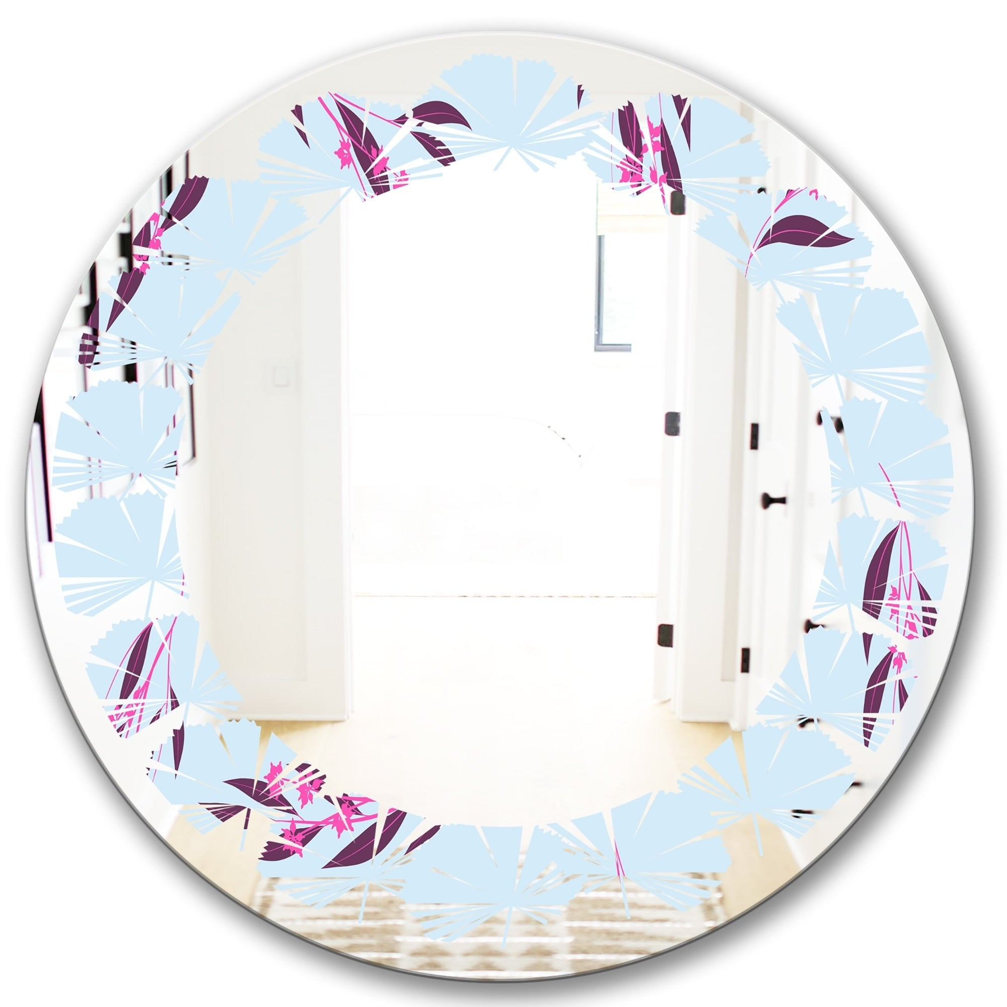 Designart Bright Eucalyptus Floral Pattern I Cottage Round Or Oval Wall Mirror Leaves On Sale Overstock 29840587