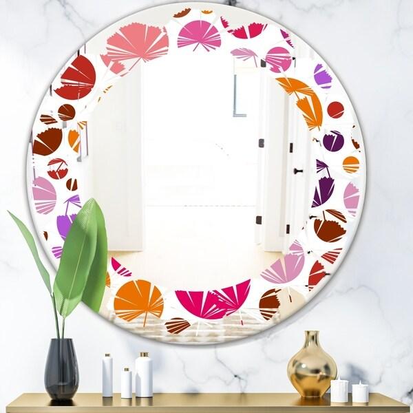 Designart 'Abstract Geometric Circular Retro II' Modern Round or Oval Wall Mirror - Leaves