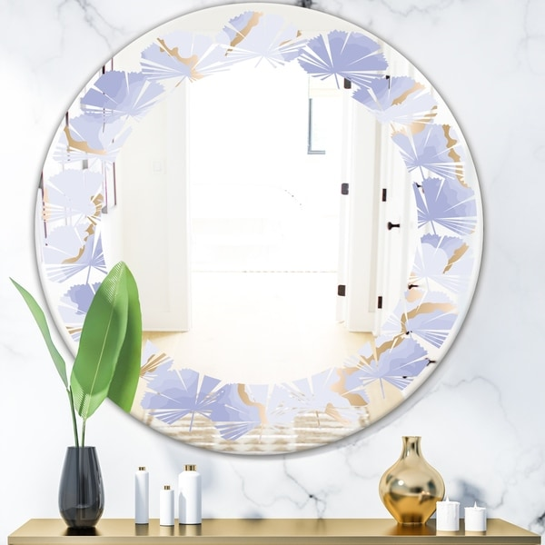 Designart 'Pastel blue and gold abstract shapes pattern' Modern Round or Oval Wall Mirror - Leaves