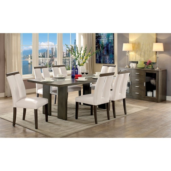 Furniture of America Quia Contemporary White 7-piece Dining Table Set
