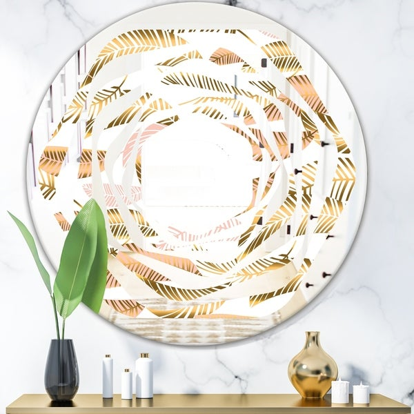 Designart 'Golden Tropical Pattern III' Modern Round or Oval Wall Mirror - Whirl