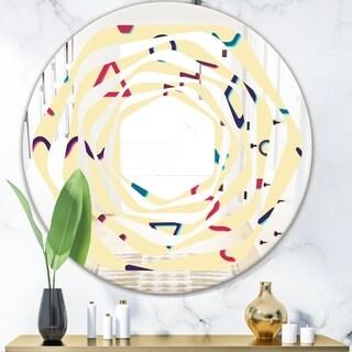 Designart 'Retro Abstract Pattern Design VI' Modern Round or Oval Wall Mirror - Whirl
