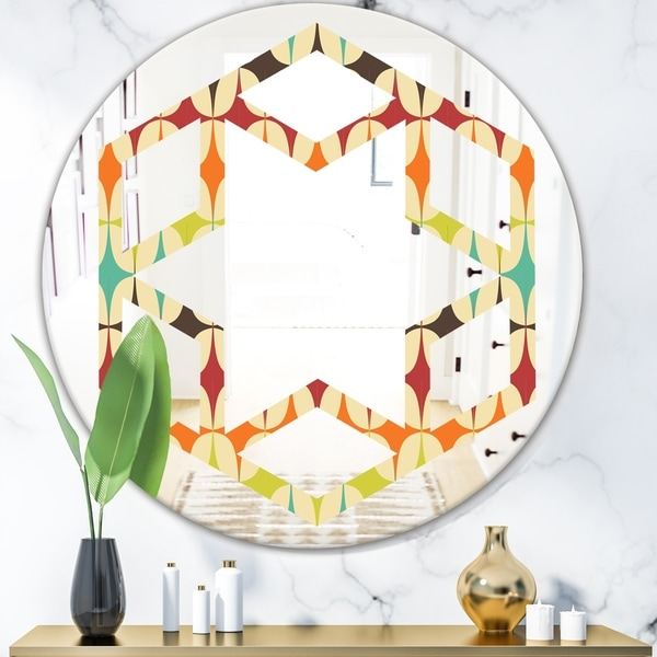 Designart 'Abstract Retro Geometric Pattern V' Modern Round or Oval Wall Mirror - Hexagon Star - Multi