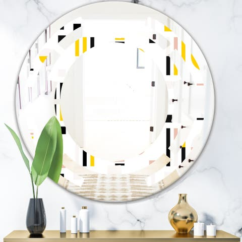 Designart 'Retro Geometric Design IX' Modern Round or Oval Wall Mirror - Space