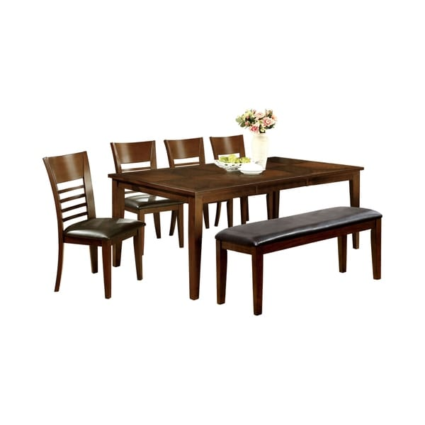 Furniture of America Yase Gray 6-piece Dining Table Set w/ Bench