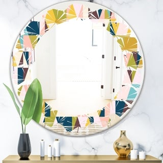 Designart 'Triangular Retro Design I' Modern Round or Oval Wall Mirror - Leaves - Multi