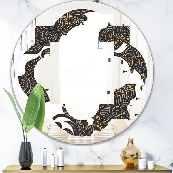 Designart 'Retro Indian Floral Batik I' Modern Round or Oval Wall Mirror - Quatrefoil