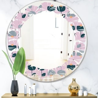 Designart 'Retro Floral Pattern XIII' Modern Round or Oval Wall Mirror - Leaves