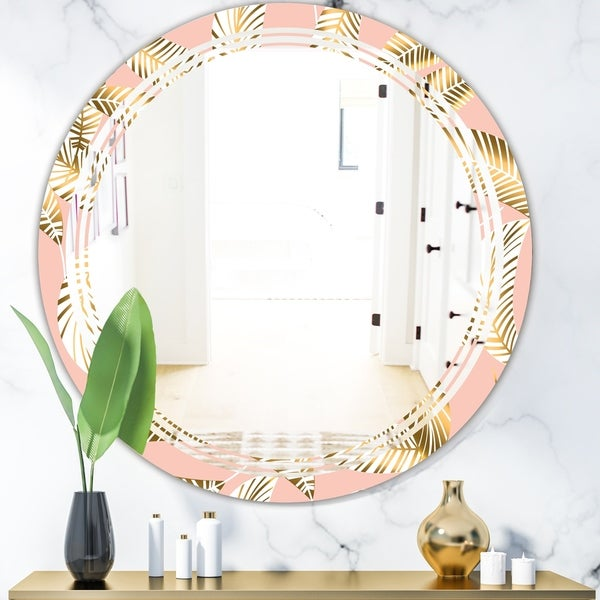 Designart 'Golden Foliage IV' Modern Round or Oval Wall Mirror - Triple C