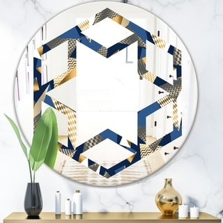 Designart 'Gold and Blue Cubes' Modern Round or Oval Wall Mirror - Hexagon Star