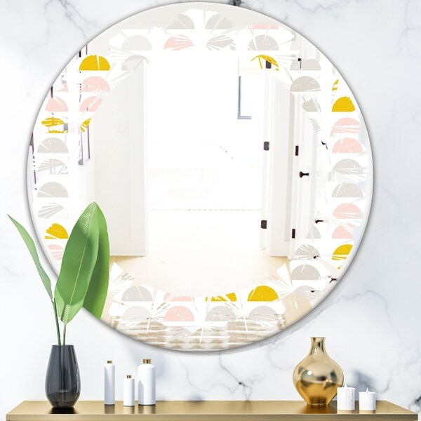 Designart 'Retro Pastel Circular Pattern III' Modern Round or Oval Wall Mirror - Leaves