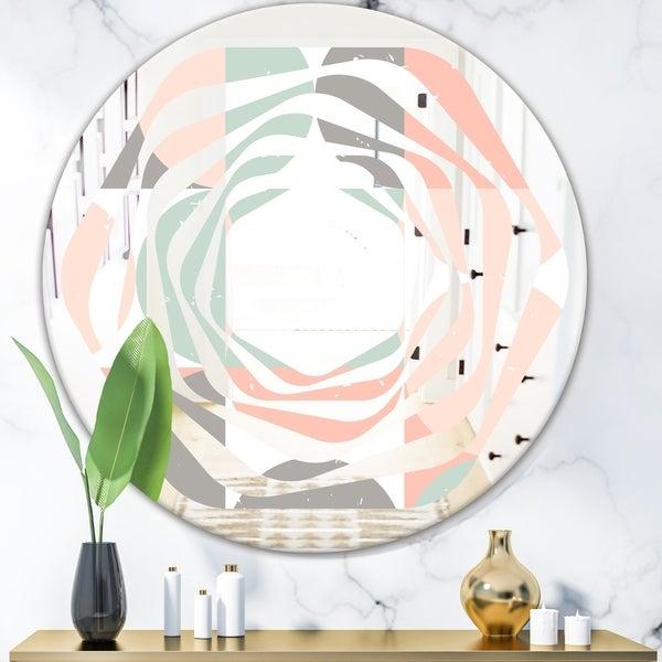 Designart 'Retro Pastel Circular Pattern II' Modern Round or Oval Wall Mirror - Whirl
